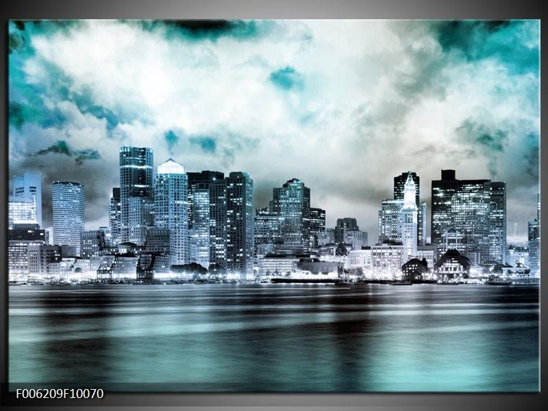 Glas schilderij Wolkenkrabber | Groen, Blauw