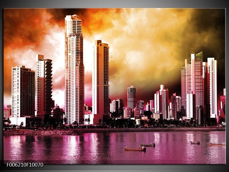 Glas schilderij Wolkenkrabber | Paars, Bruin, Roze