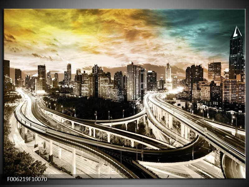 Glas schilderij Wolkenkrabber | Geel, Blauw, Sepia