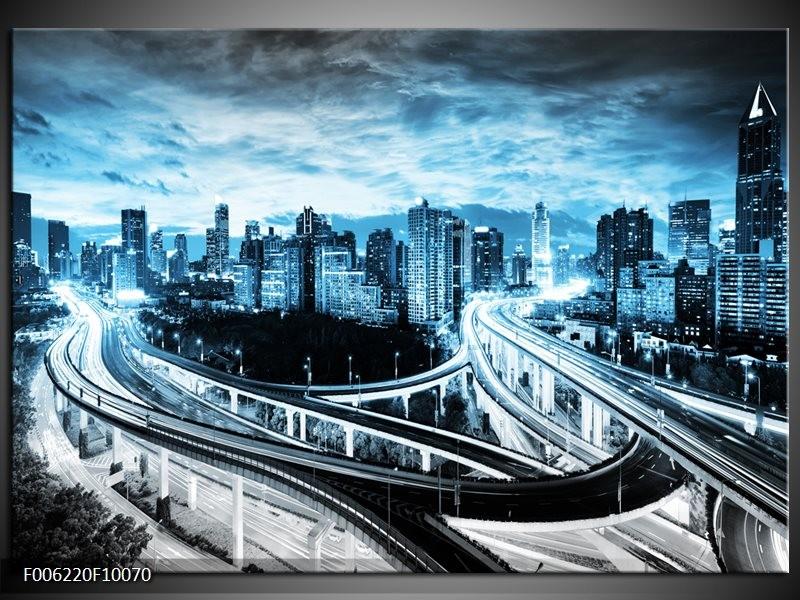 Glas schilderij Wolkenkrabber | Blauw, Grijs