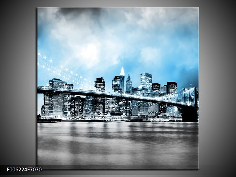 Canvas schilderij Brug | Blauw, Grijs | 70x70cm 1Luik
