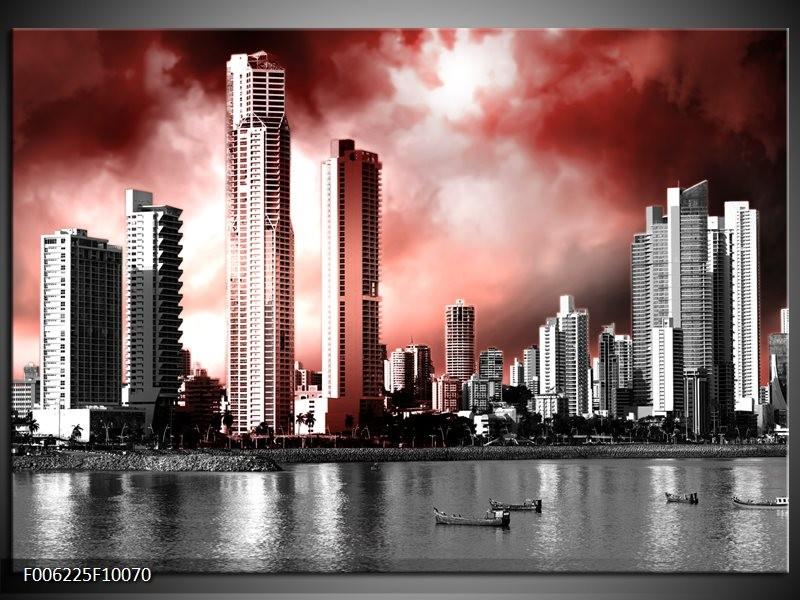 Glas schilderij Wolkenkrabber   Rood, Grijs