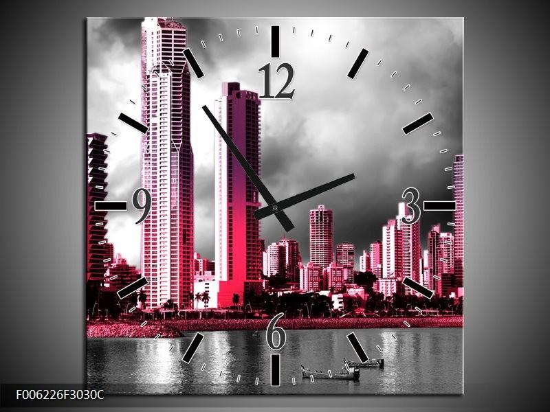 Wandklok op Canvas Wolkenkrabber | Kleur: Roze, Grijs, | F006226C