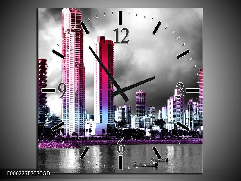 Wandklok op Glas Wolkenkrabber | Kleur: Paars, Roze, Grijs | F006227CGD