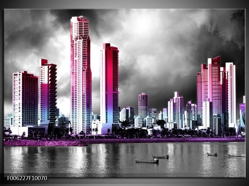 Glas schilderij Wolkenkrabber | Paars, Roze, Grijs