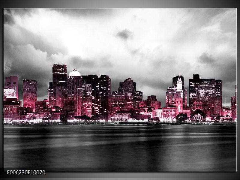 Glas schilderij Wolkenkrabber | Roze, Grijs