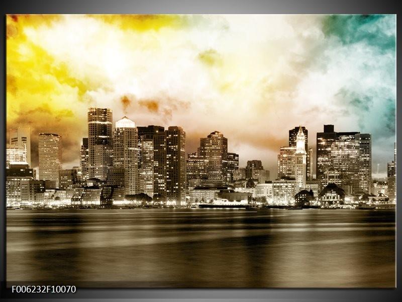 Glas schilderij Wolkenkrabber | Sepia, Bruin, Geel