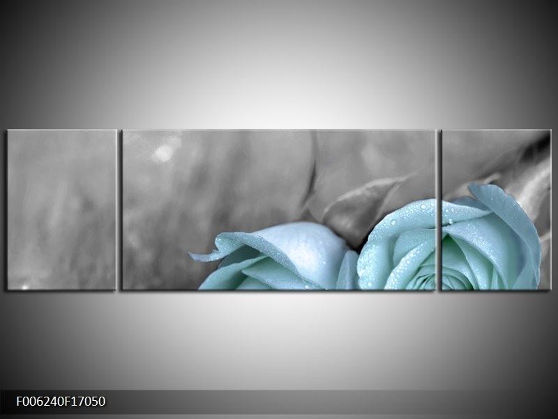 Canvas schilderij Roos | Blauw, Grijs | 170x50cm 3Luik