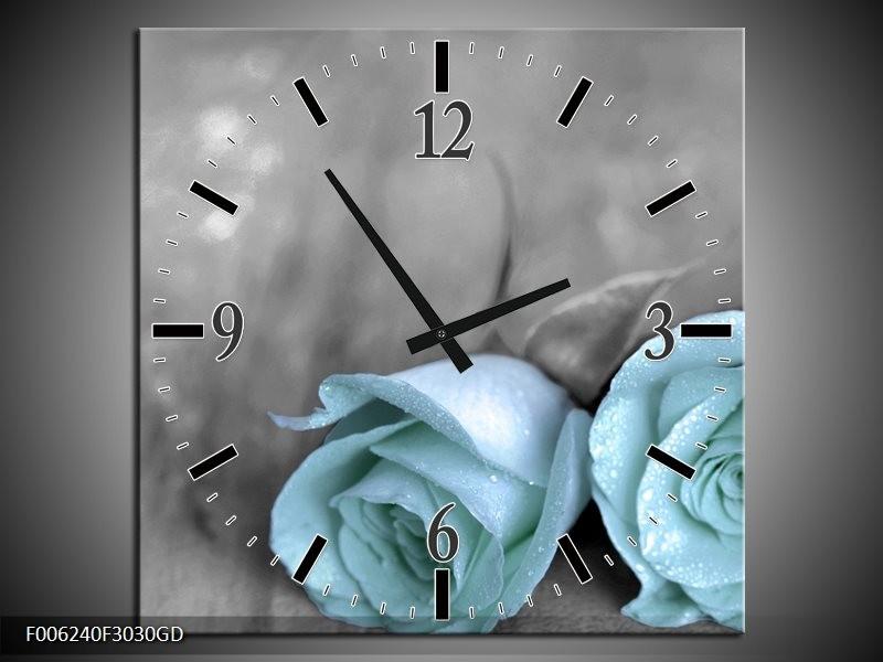 Wandklok op Glas Roos | Kleur: Blauw, Grijs | F006240CGD
