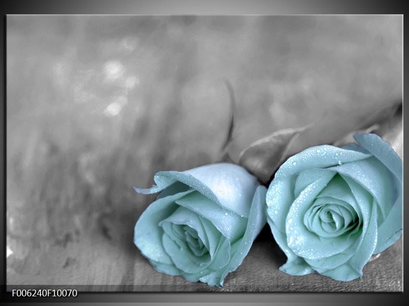 Glas schilderij Roos | Blauw, Grijs