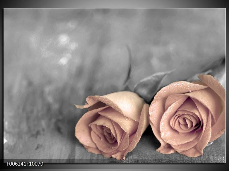 Glas schilderij Roos | Bruin, Crème , Grijs