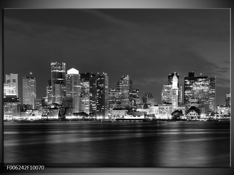 Glas schilderij Wolkenkrabber | Zwart, Grijs