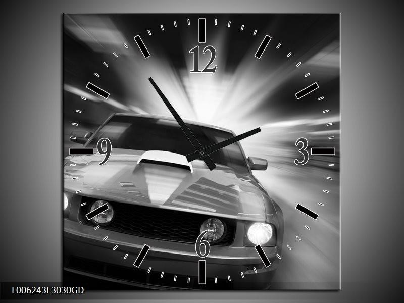 Wandklok op Glas Mustang | Kleur: Zwart, Grijs | F006243CGD