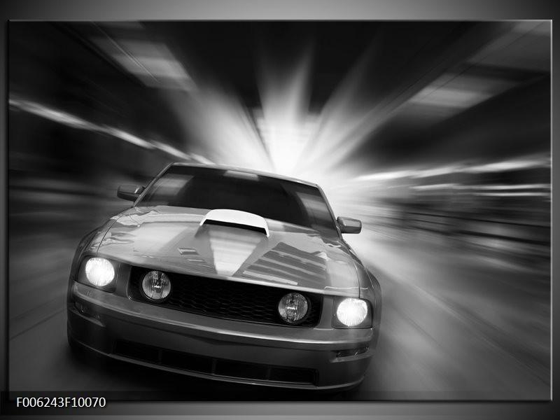 Glas schilderij Mustang | Zwart, Grijs
