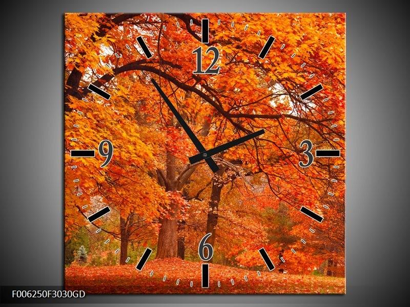 Wandklok op Glas Herfst | Kleur: Bruin, Oranje | F006250CGD