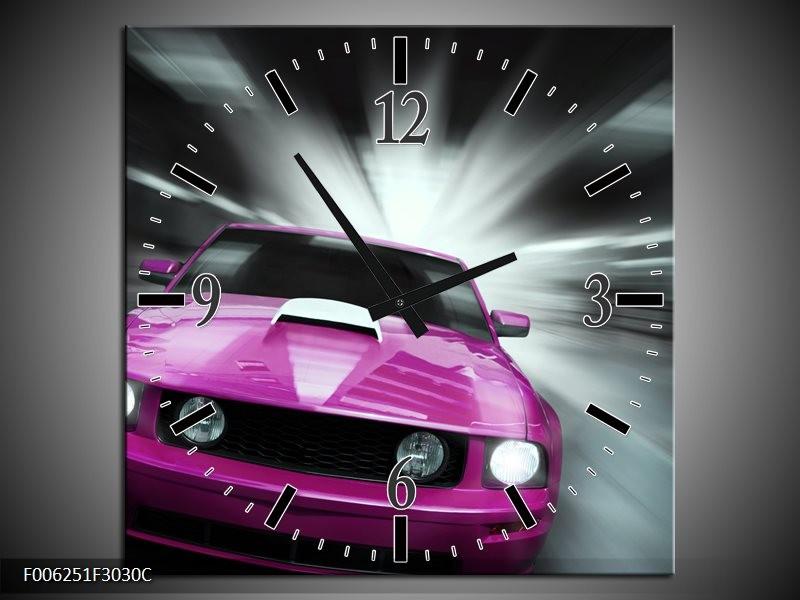 Wandklok op Canvas Mustang   Kleur: Paars, Roze, Grijs   F006251C