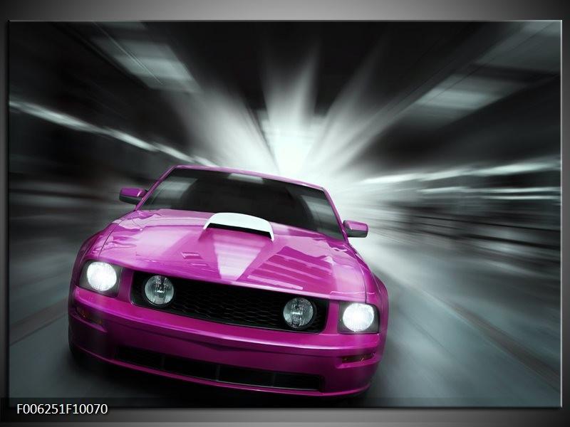 Glas schilderij Mustang | Paars, Roze, Grijs