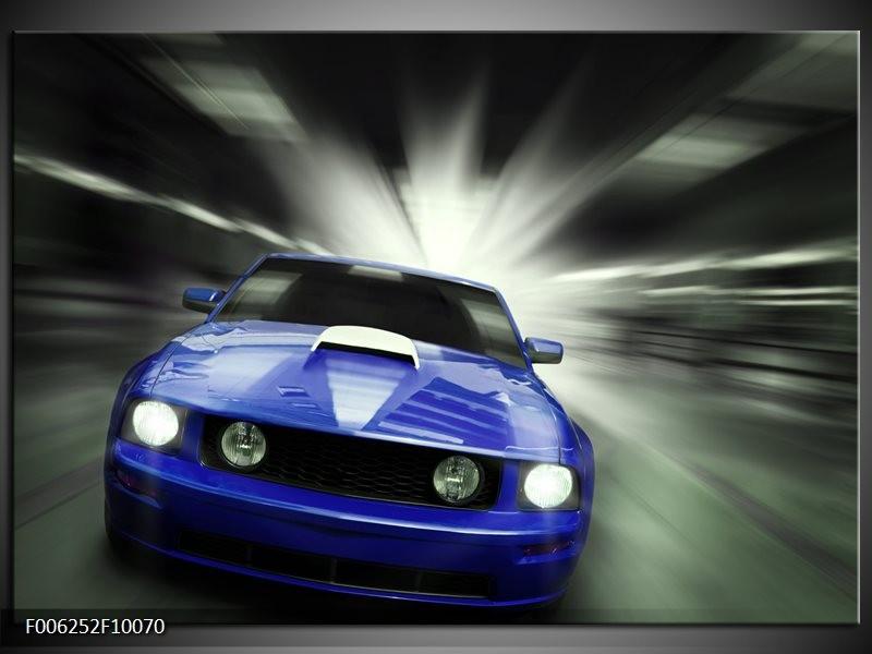 Glas schilderij Mustang | Blauw, Grijs