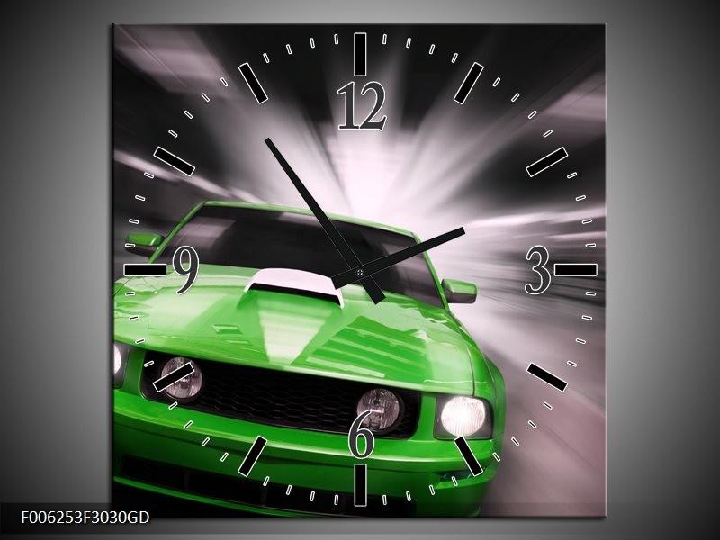 Wandklok op Glas Mustang | Kleur: Groen, Grijs | F006253CGD