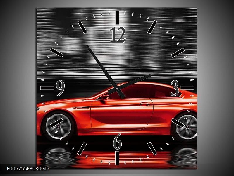 Wandklok op Glas Auto   Kleur: Rood, Grijs   F006255CGD