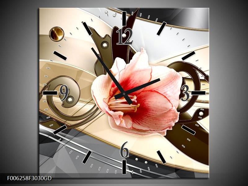 Wandklok op Glas Bloem   Kleur: Roze, Creme, Grijs   F006258CGD