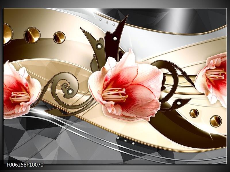 Glas schilderij Bloem   Roze, Crème , Grijs