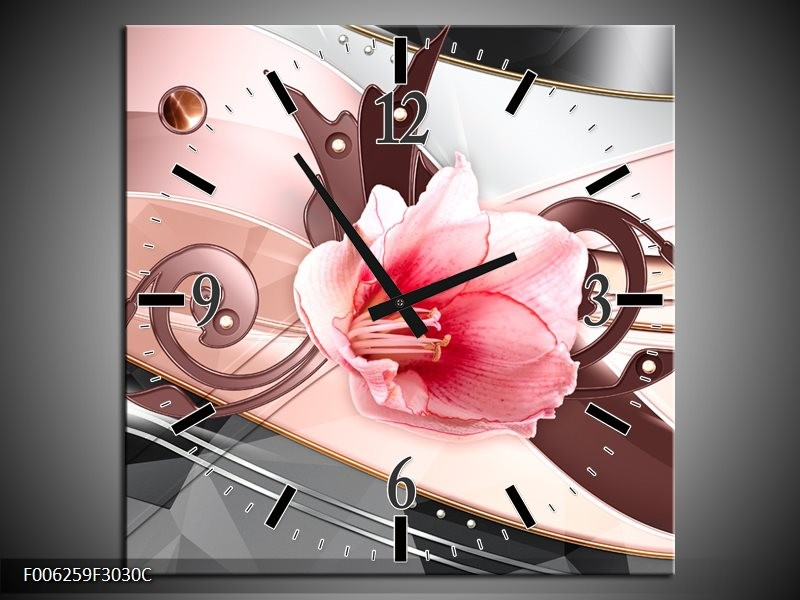 Wandklok op Canvas Bloem   Kleur: Roze, Grijs   F006259C