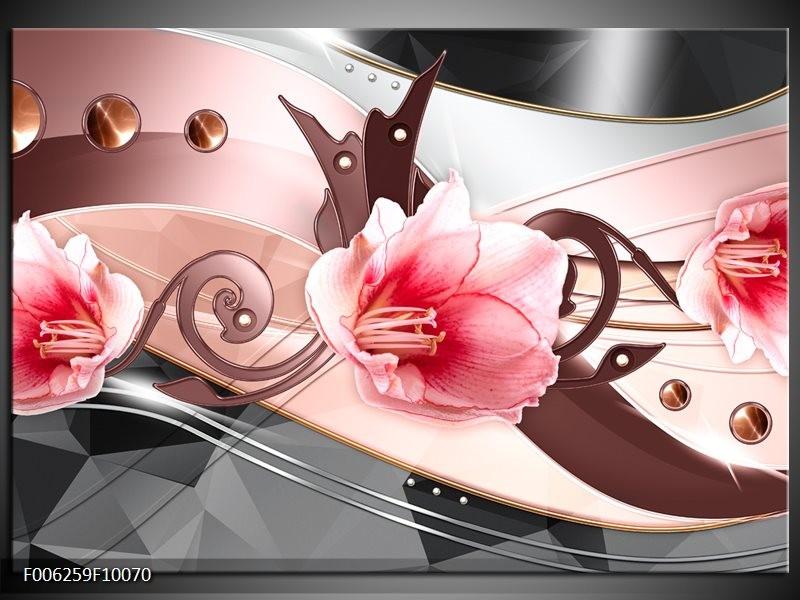 Glas schilderij Bloem | Roze, Grijs