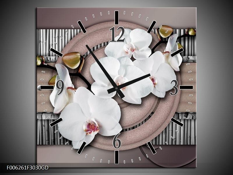 Wandklok op Glas Orchidee | Kleur: Bruin, Wit, Grijs | F006261CGD