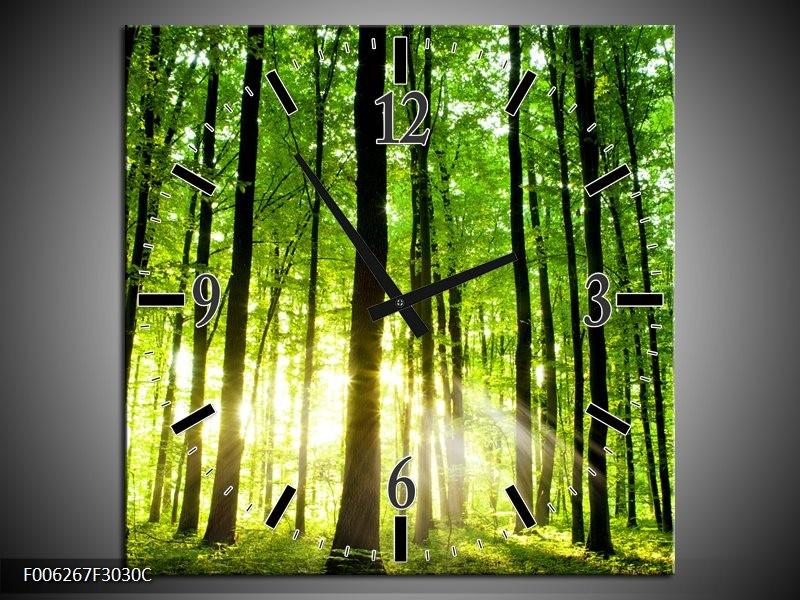 Wandklok op Canvas Natuur | Kleur: Groen, Geel | F006267C
