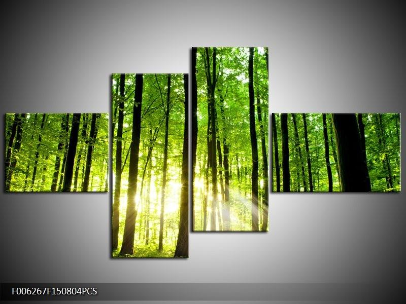 Canvas schilderij Natuur | Groen, Geel | 150x80cm 4Luik