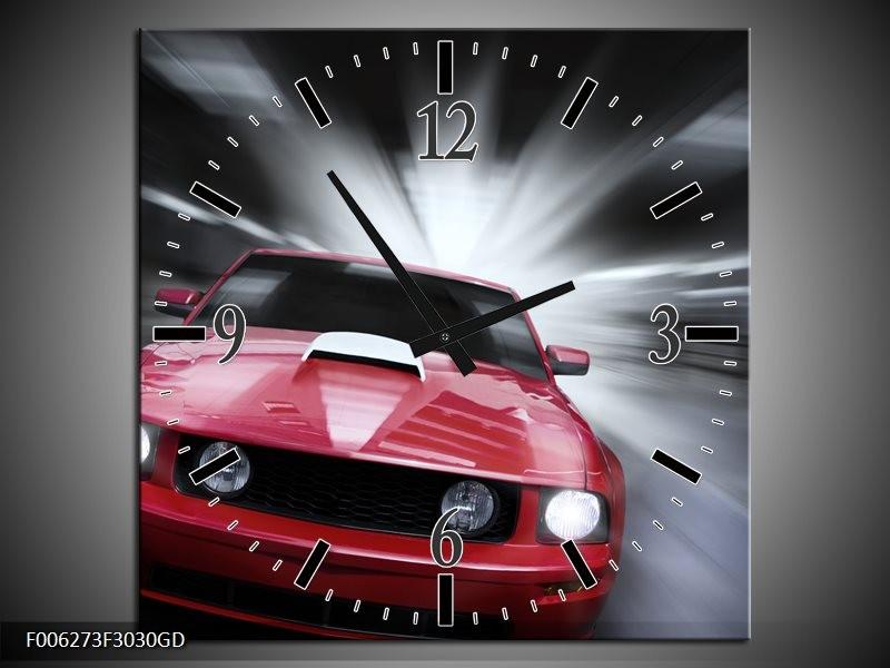 Wandklok op Glas Mustang   Kleur: Rood, Grijs   F006273CGD