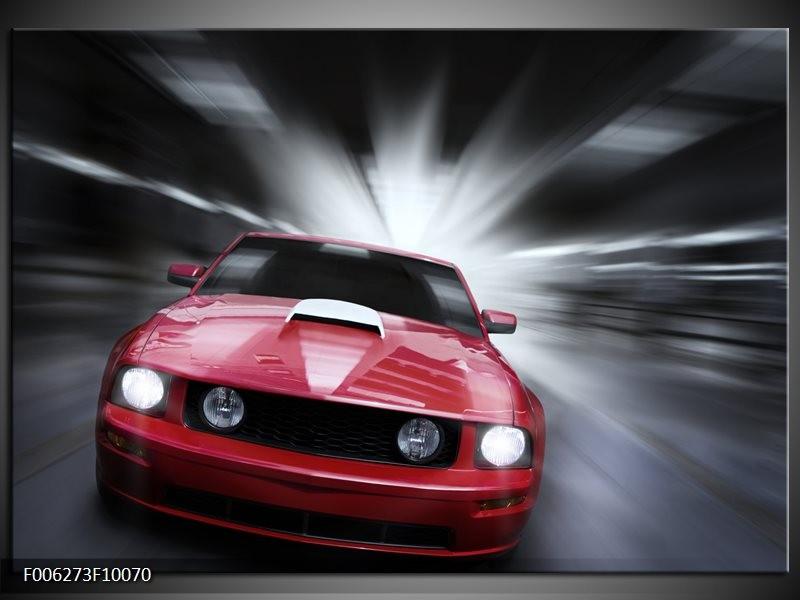 Glas schilderij Mustang   Rood, Grijs