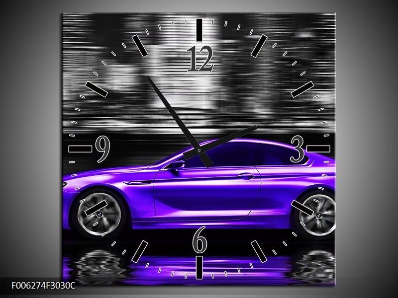 Wandklok op Canvas Auto | Kleur: Paars, Grijs, Zwart | F006274C