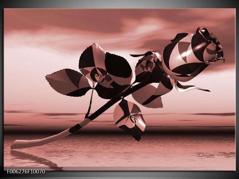 Canvas Schilderij Bloem, Roos | Bruin, Rood