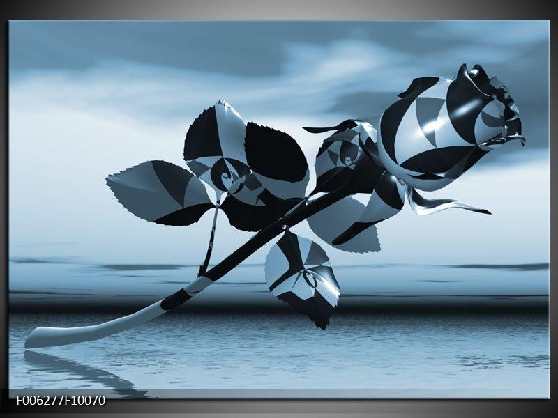 Canvas Schilderij Bloem, Roos | Blauw, Zilver