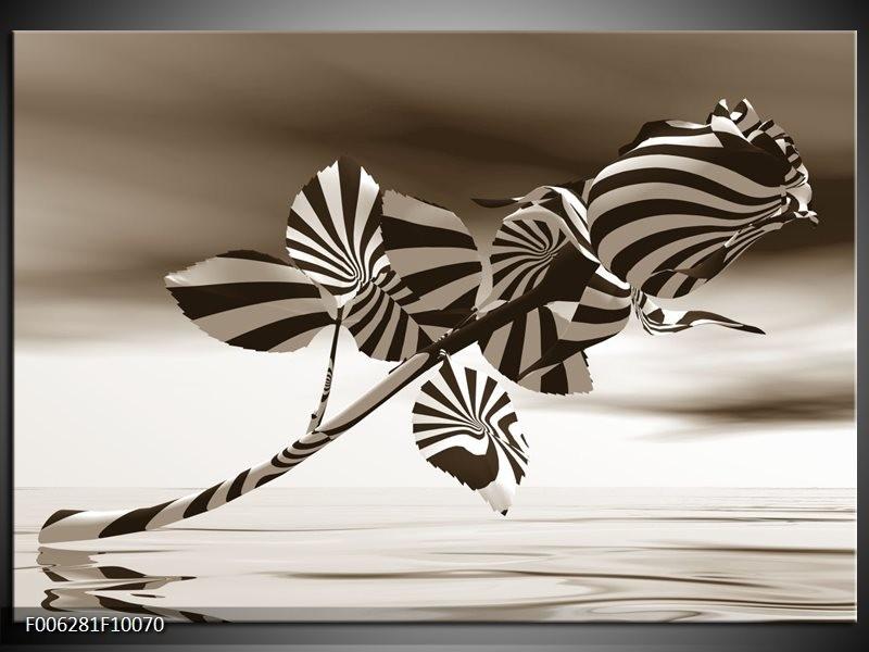 Canvas Schilderij Bloem, Roos | Sepia