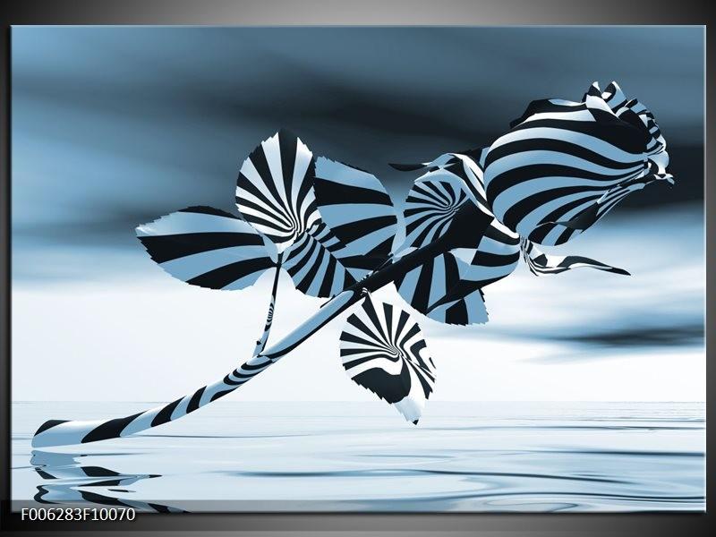 Canvas Schilderij Bloem, Roos   Blauw, Zilver