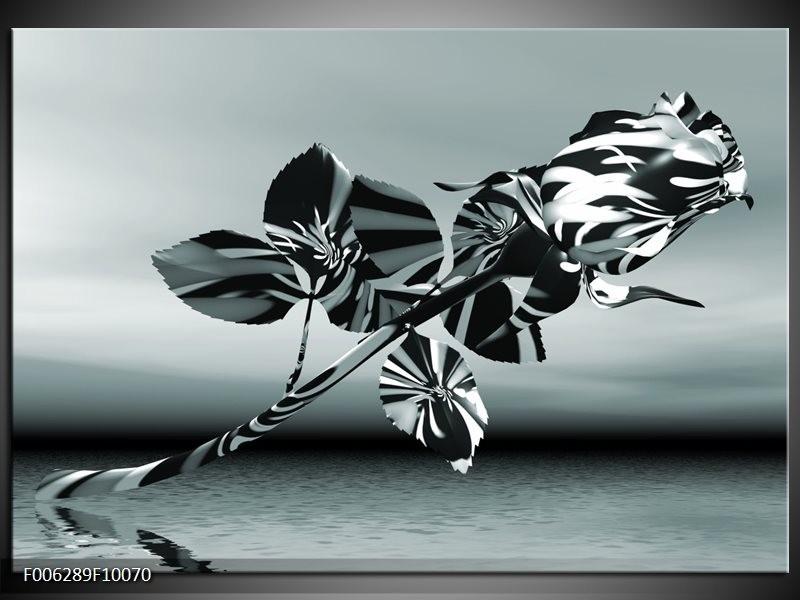 Canvas Schilderij Bloem, Roos | Grijs
