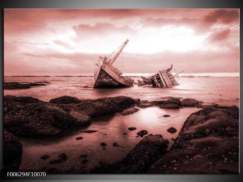 Canvas Schilderij Boot | Bruin, Rood