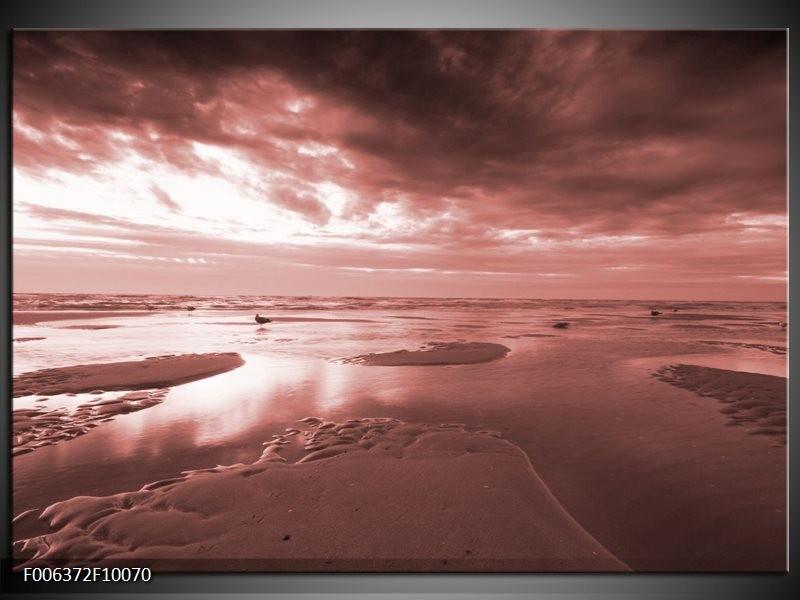 Canvas Schilderij Zee | Bruin, Rood