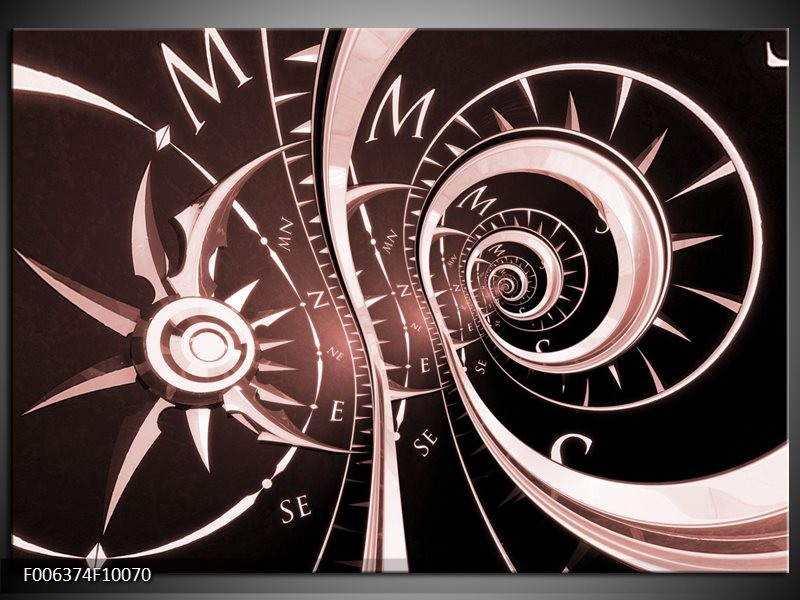Canvas Schilderij Abstract | Bruin, Rood