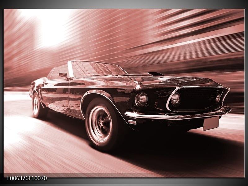 Canvas Schilderij Auto, Mustang | Bruin, Rood