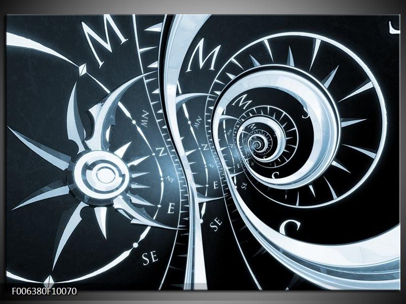Canvas Schilderij Abstract | Zwart, Blauw