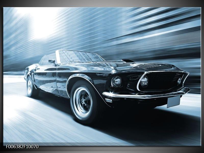 Canvas Schilderij Auto, Mustang | Blauw, Wit