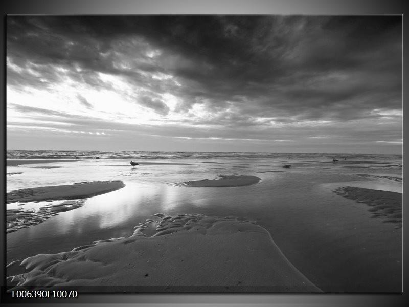 Canvas Schilderij Zee | Grijs, Zwart, Wit