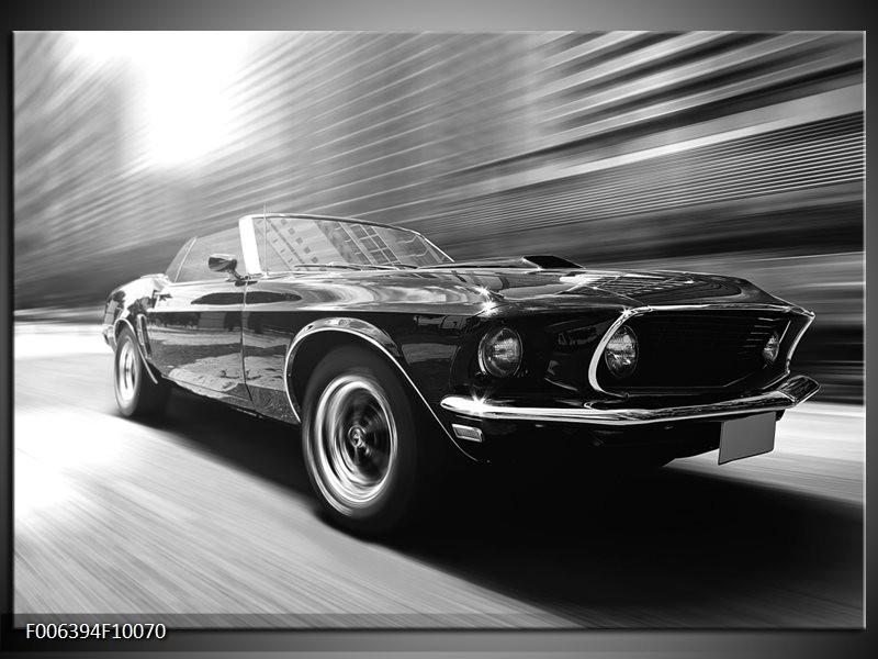 Canvas Schilderij Auto, Mustang | Zwart, Grijs