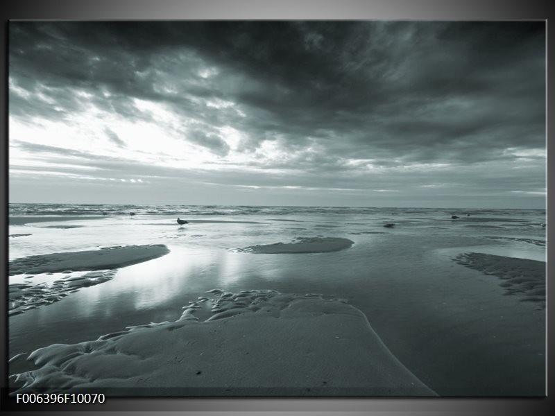 Canvas Schilderij Zee | Grijs, Groen