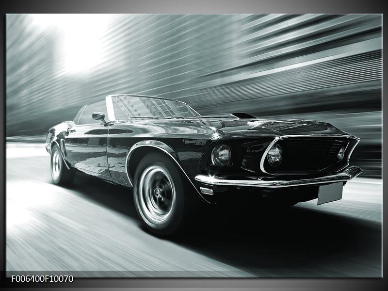 Canvas Schilderij Auto, Mustang | Grijs, Groen, Zwart