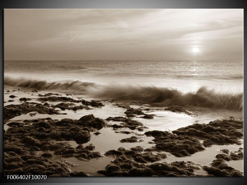 Canvas Schilderij Zee, Strand | Sepia